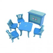 Kerocy Toy Furniture Set Wooden Miniature Pretend Play Bathroom/ Kid Room/ Bedroom/ Kitchen House Furniture Toys for 4-5 Years Old (Blue Restaurant)