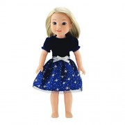 14 Inch Doll Clothes/Clothing | Blue Velvet Holiday Dress Outfit with Silver Stars | Fits American Girl Wellie Wishers Dolls by Emily Rose Doll Clothes