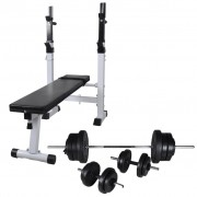 vidaXL Workout Bench with Weight Rack, Barbell and Dumbbell Set 60.5kg
