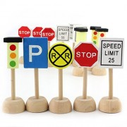 Kids Wooden Street Signs Playset Wooden Street Sign Perfect Car and Train Set Stop and Street Signs