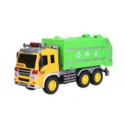 Cltoyvers Friction Powered Garbage Truck with Openable Back Green Recycling Truck Toys for Kids
