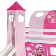 IDIMEX Donjon pour lit surélevé avec toboggan, motif Princesse