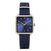 CLUSE Horloges La Tetragone Leather Gold Plated Blue Blauw