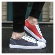 Zapatos De Lona De Hombres Con Cordónes De Color Diferentes De Dos Zapatos De Ocio -Azul Y Rojo