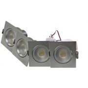 LED Set 4-Inbouwspots - 4W - Chroom - Vierkant