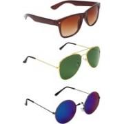 Abner Wayfarer, Aviator, Round Sunglasses(Brown, Green, Multicolor)