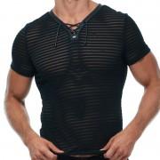 Gregg Homme JAILHOUSE Mesh Stripe Laced V Neck Short Sleeved T Shirt Black 173007