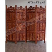 Shilpi Beautiful Hand Carving Sheesham Wood Screen 4 Panel / Wooden Room Separator Zigzag Position