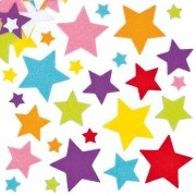 Baker Ross Star Stickers - 144 Star shaped felt Stickers. 3 sizes - 15mm, 35mm & 50mm. 8 colours Green, Blue, Orange, Red, Pink, Purple, Yellow & White.
