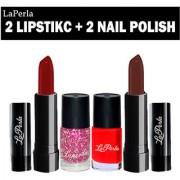Laperla 2 Lipstick Nail Paint Makeup Combo Set of 4