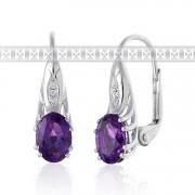Luxusní diamantové náušnice z bílého zlata s diamanty a fialovým ametystem
