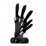 Комплект ножoве ZEPHYR ZP 1633 BS5AS, 5 бр, Мраморно покритие, Акрилна поставка, Черен