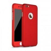 Husa Full Cover 360° fata + spate + geam sticla pentru Apple iPhone 6 / 6S rosu