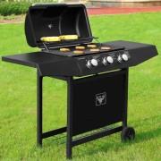 Plynový zahradní GRIL BBQ TORA 3 hořáky černá