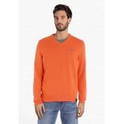 Lerros Oranje katoenen trui met geribde V-hals