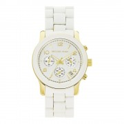Michael Kors Watches Mk5145 Ladies Chronograph White Silicone Coate...