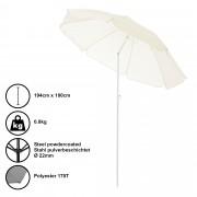 [casa.pro]® Чадър за плаж, преносим, чупещ се, Ø 180 x 194 cm, Крем