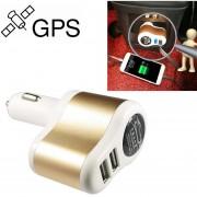 Auto Localizador GPS Libre Instalación Auto Wireless Mini Posicionamiento Posicionamiento Tracker Vehículo Anti - Theft Auto USB 3.1A Cargador Rapido (blanco Y Oro)