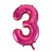 Merkloos Cijfer ballon in roze 3