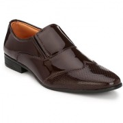 Hirel's Brown Brogue Slip On Patent Leather Formal Shoes