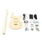 DIY Unfinished 6 String Electric Bass Guitar Kit Basswood Body with Maple Neck