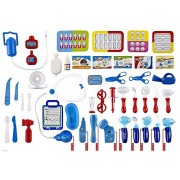 WolVol (Set of 45) Pretend & Play Doctor Set for Kids with Electric Stethoscope Toy and Medical Doctors Equipment, Lights and Sounds