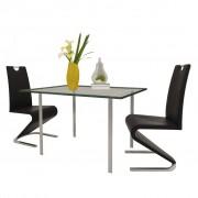 vidaXL Cadeiras jantar cantilever forma U 2 pcs couro artificial preto