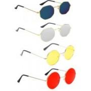 Briota Round, Retro Square Sunglasses(Blue, Silver, Red, Yellow)