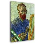 Vincent Van Gogh: Van Gogh: önarckép festőállvánnyal (20x25 cm, Vászonkép )