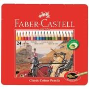Creioane colorate 24 culori/set FABER-CASTELL cutie metal, FC115845
