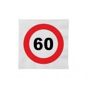 Merkloos 48x 60 jaar leeftijd themafeest servetten verkeersbord 33 cm ron - Feestservetten
