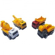 Emob Battery Operated Cement Mixer Truck with 4 Mini Pull Back Vehicle Construction Trucks (Multicolor)