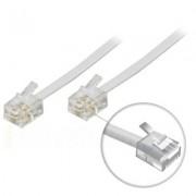. Modularkabel, 6P4C(RJ11) till 6P4C(RJ11), 5m, vit