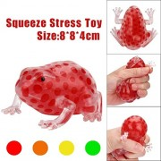 Voberry Frogs Toys, 1Pc Squishy Frog Healing Toy Soft Bead Stress Ball Sticky Squeeze Stress Relief Fun Joke Gifts 18*12*10.5 cm(L*W*H) / 7.1*4.1* inch Yellow
