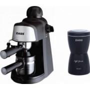 Pachet espressor Zass ZEM 05 800 W 3.5 bar cu rasnita Zass ZCG 05 150W 80g Negru