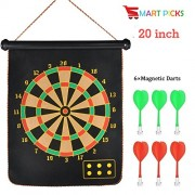 Smart Picks Roll-up Magnetic Dart Board Double Sided Hanging Wall Dartboard with 6 Safety Darts Needles (20 INCH)