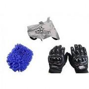 AutoStark Combo Bike Accessories Bike Body Cover Silver With Pro Biker Full Gloves + Bike Cleaning Gloves For Hero HF Dawn