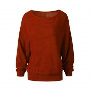 Spring Autumn Women Loose Shirt Knitted Bottom Shirts Pullover Plus Size Wine Red