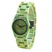 Bewell Ladies Green Bamboo Wood Watch