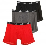 Puma [3 Pack] Cotton Boxer Brief Underwear Bright Red & Grey & Black PUMFW1411527-620