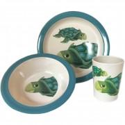 Merkloos 2x 3-delige ontbijtsets bord/kom/beker voor kinderen schildpad thema wit/blauw melamine