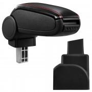Подлакътник [pro.cet]® Opel Zafira A с контейнер за съхранение, Черен с червен шев/Изкуствена кожа