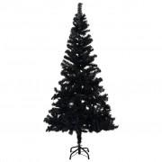 vidaXL Изкуствена коледна елха със стойка, черна, 213 см, PVC