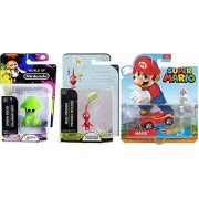 Hot Wheels Character Car 2017 Super Mario Video Game Car & World of Nintendo Red Pikmin & Green Squid Figures set