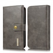DG.MING Split Leather Wallet Style Case with Stand for iPhone 11 6.1 inch - Grey