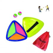 Seprovider Toss Catch velcro Ball Game with 2 Triangle Paddles 2 Balls and 1 Polyester Carry Bag Sports Game for Outside and Inside