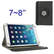 """UNIVERZÁLIS notesz / mappa tok - álló, oldalra nyíló, gumis záródás, asztali tartó funkcióval, 360°-ban elforgatható - FEKETE - 7""""-8"""" méretű készülékekhez"""