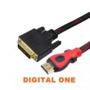 Кабел Digital One SP00046, от HDMI(м) към DVI(м), екраниран с твърда оплетка, 5m, черен
