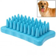 Pet Dog Cat Grooming Bath Massage Brush Comb (Blue)