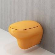 Toiletpot Hangend Cosmo 53x38x40cm Wandcloset Keramiek Diepspoel Nano Coating EasyClean Glans Tangarine met Softclose Toiletbril